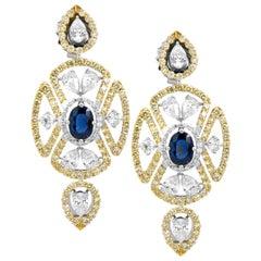 8.64 Carat Blue Sapphire and Diamond 18 Karat Gold Earring