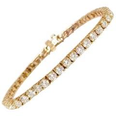 8.64 Carat Round Brilliant Cut Diamond Tennis Bracelet 14 Karat Rose Gold