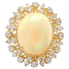 8.65 Carat Natural Impressive Ethiopian Opal and Diamond 14K Solid Gold Ring