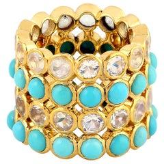 8.61 Carat Turquoise Diamond 18 Karat Cocktail Ring
