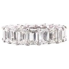 8.65 Carats Emerald Cut Diamond Eternity Band