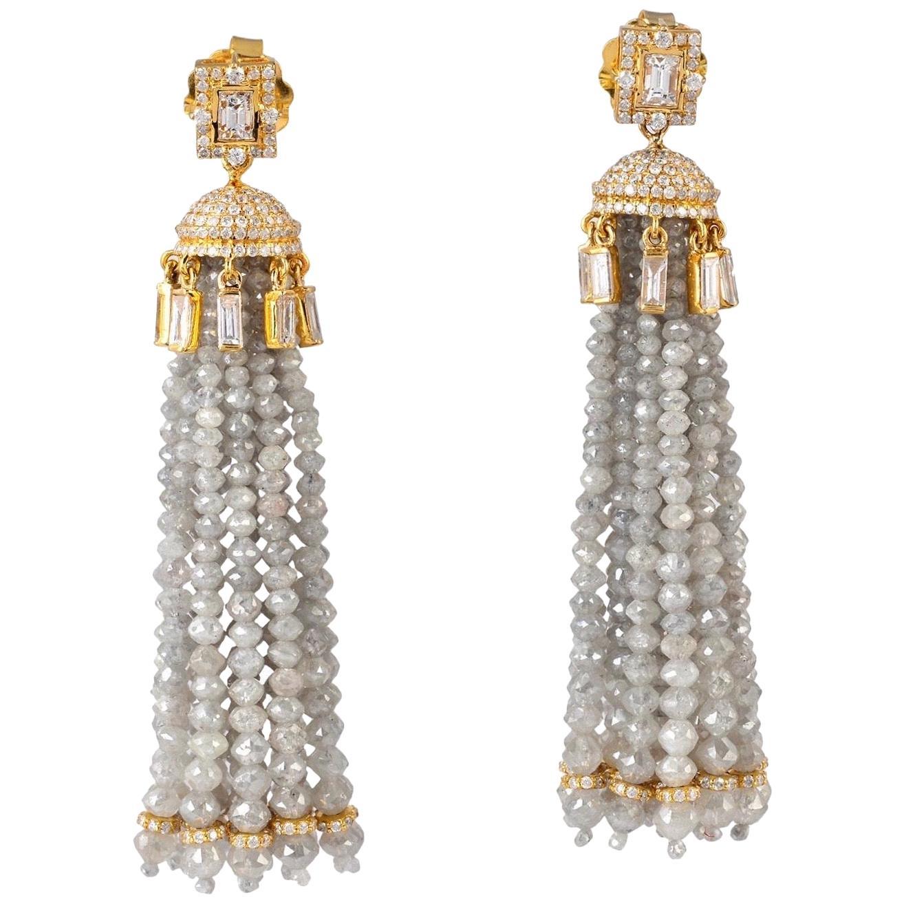 86.53 Carat Diamond 18 Karat Gold Drop Tassel Earrings