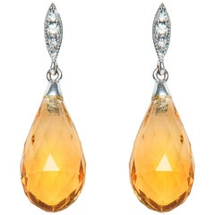 8.66 Carat Briolette Citrine Diamond 18 Karat Gold Drop Earrings Natalie Barney