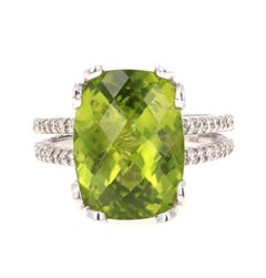 8.66 Carat Peridot Diamond 14 Karat White Gold Ring