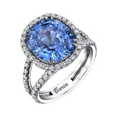8.66ct. Cornflower Blue Sapphire accented with 1.07ct Diamonds Set in 18KW