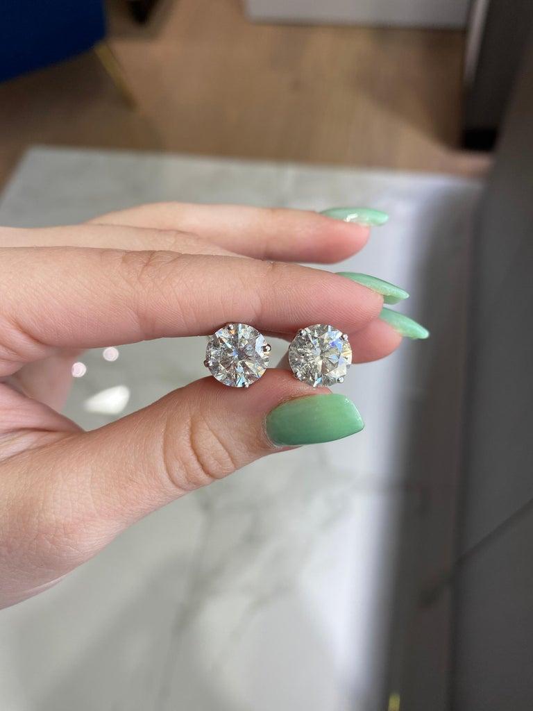 Round Cut 8.66ct Round Brilliant Diamond Studs in 14kt White Gold, H/I I2 For Sale
