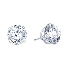 8.66ct Round Brilliant Diamond Studs in 14kt White Gold, H/I I2