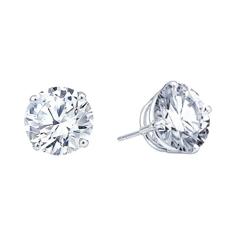 8.66ct Round Brilliant Diamond Studs in 14kt White Gold, H/I I2 For Sale