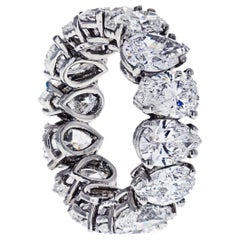 8.67 Carat Pear-Cut Diamond D-E Color GIA Platinum Eternity Ring