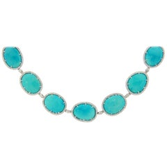 86.97 Carat Rose Cut Turquoise and Diamond Necklace