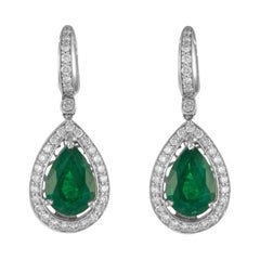 8.69ct Pear Emeralds with Diamonds Drop Earrings 18k White Gold