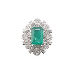 8.7 Carat Emerald and Diamond Cocktail Engagement Ring