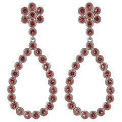 8.7 Carat Garnet Flower Teardrop Earring in Sterling Silver