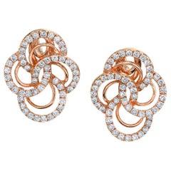 .87 ct. t.w. Diamond and 18k Pink Rose Gold Quatrefoil Stud Post Earrings