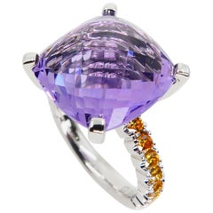8.70 Carat Amethyst Cocktail Ring with Fancy Vivid Yellow Diamonds, Statement