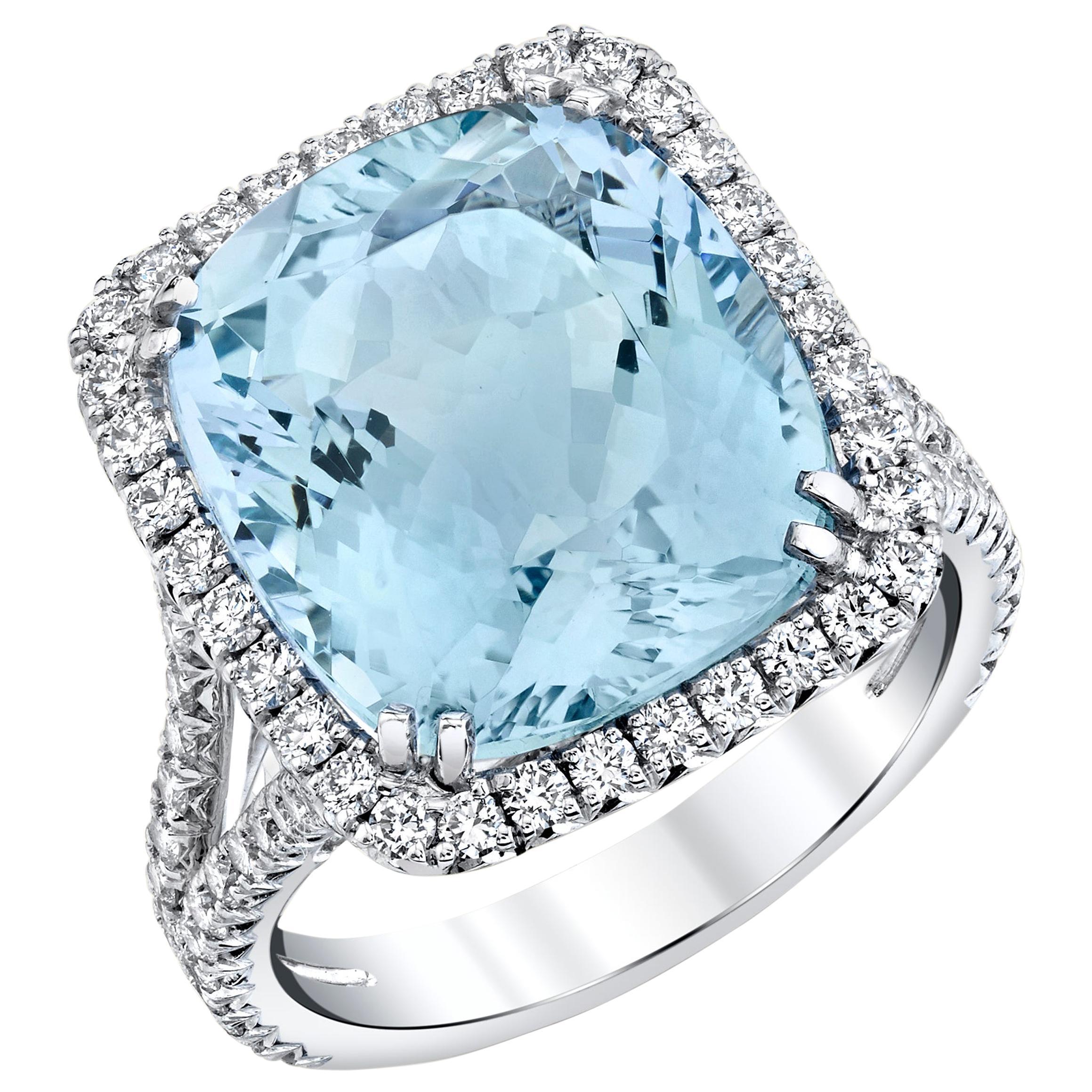 8.70 Carat Aquamarine Cushion, White Gold and Diamond Halo Cocktail Ring