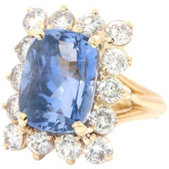 8.70 Carat Cushion Sapphire and Diamond Yellow Gold Cocktail Ring