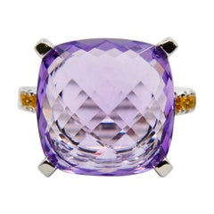 8.70 Carat Faceted Amethyst Cocktail Ring With Fancy Vivid Yellow Diamonds