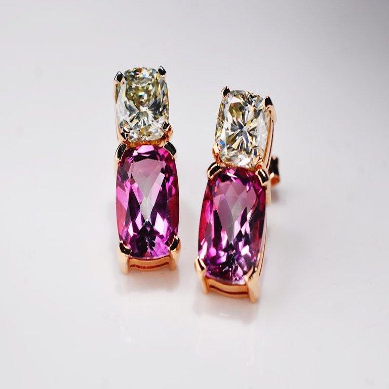 Contemporary 8.70 Carat Moissanite Pink Topaz Cushion 18 Karat Rosé Gold Earrings For Sale