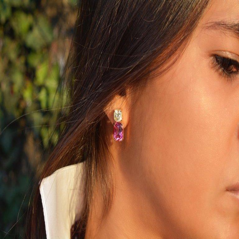 Cushion Cut 8.70 Carat Moissanite Pink Topaz Cushion 18 Karat Rosé Gold Earrings For Sale