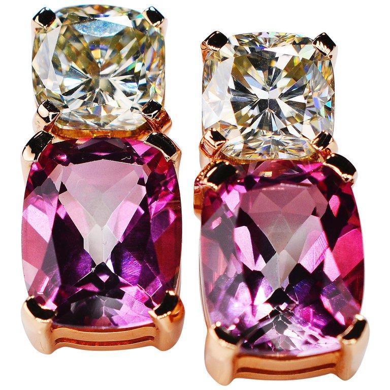 8.70 Carat Moissanite Pink Topaz Cushion 18 Karat Rosé Gold Earrings For Sale