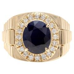 8.70 Carat Natural Diamond and Blue Sapphire 14 Karat Solid Gold Men's Ring