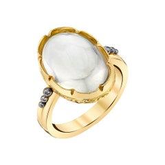 8.70 Carat Oval Blue Flash Moonstone, Yellow Gold, Palladium Dome Ring