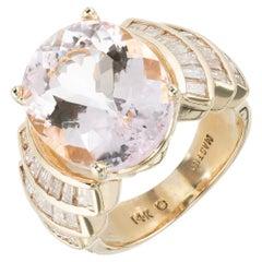 8.70 Carat Oval Morganite Baguette Diamond Gold Cocktail Ring