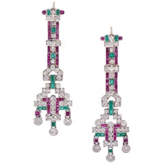 GIA Cert 8.70 Carat Ruby, Emerald, and Diamond Chandelier Earrings in 18 Karat