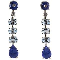 8.70 Carat Tanzanite 3.70 Carat Aquamarine Diamond White Gold Clip-On Earrings