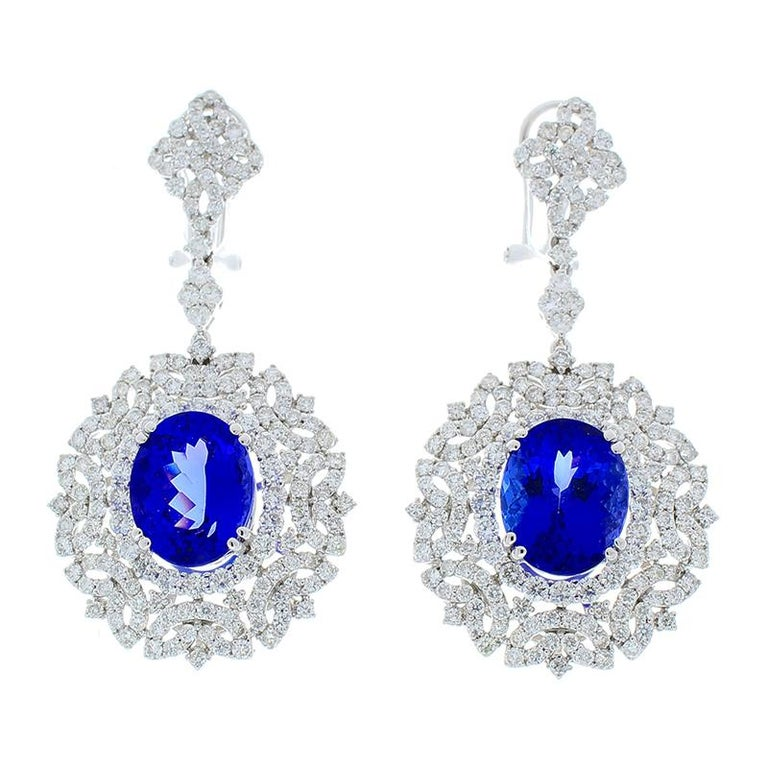 Oval Cut 8.70 Carat Total Oval Tanzanite and Diamond Earrings in 18 Karat White Gold For Sale