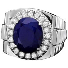 8.70 Carat Natural Diamond and Blue Sapphire 18K Solid White Gold Men's Ring