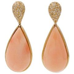 8.70 g Angel Skin Pink Coral, White Diamonds, 18 Karat Yellow Gold Drop Earrings