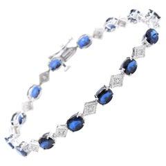 8.70 Natural Blue Sapphire and Diamond 14 Karat Solid White Gold Bracelet