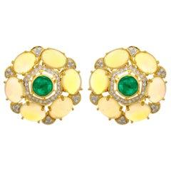 8.71 Carat Ethiopian Opal Emerald and Diamond 18 Karat Gold Stud Earrings