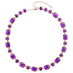 87.12 Carat Amethyst Necklace in 18 Karat Rose Gold with Diamonds