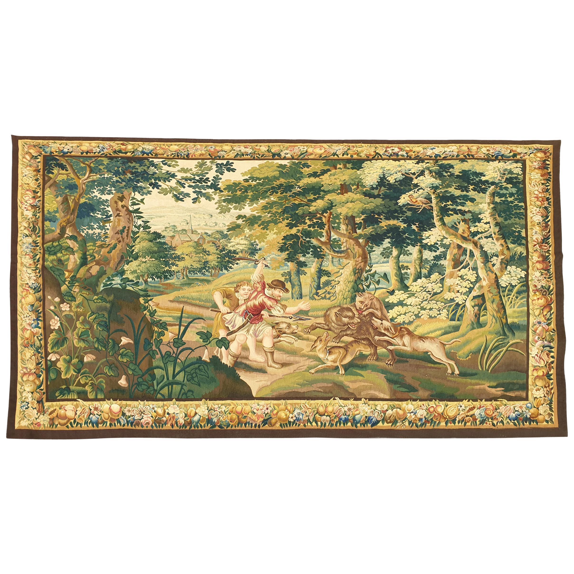 "872 -  Beauvais Tapestry ""Wolf Hunt"", 19th Century"