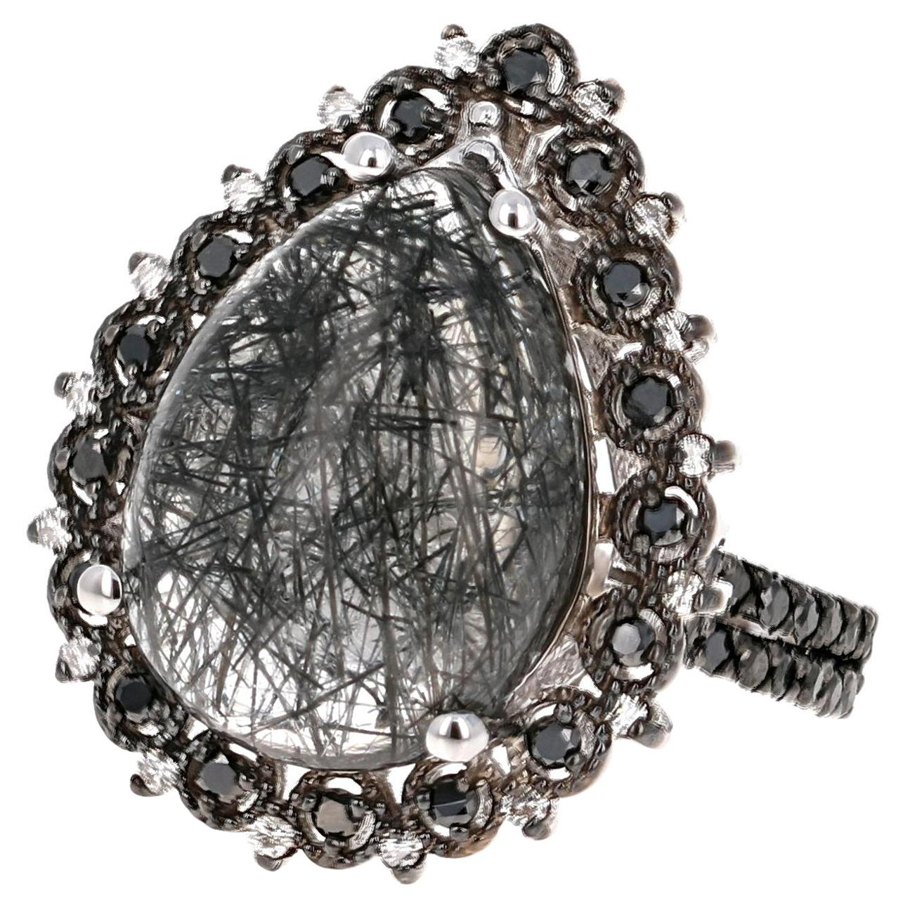 8.72 Carat Black Diamond Quartz and Diamond 14 Karat White Gold Cocktail Ring