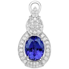 8.72 Carat Genuine Tanzanite and White Diamond 18 Karat White Gold Pendant