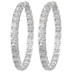 8.73 Carat Diamond Hoop Earrings White Gold
