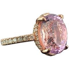 8.73 Carat Kunzite and Diamond Rose Gold Engagement Ring