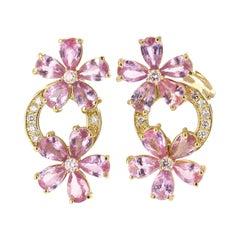 8.73 Carat Pink Sapphire Diamond 18 Karat Yellow Gold Earrings