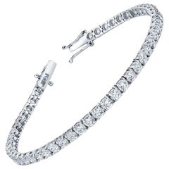 8.73 Carat Round Cut Diamond 18 Karat Gold Tennis Bracelet