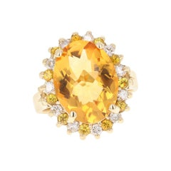 8.74 Carat Citrine Diamond 14 Karat Yellow Gold Cocktail Ring