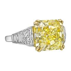 8.74 Carat Fancy Intense Yellow Diamond Ring 'VS2'