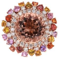 8.74 Carat Morganite, Sapphire and Diamond 14 Karat Rose Gold Cocktail Ring