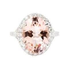 8.74 Carat Pink Oval Morganite and 1.57 Carat Diamond Platinum Cocktail Ring