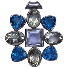 87.5 Carat Natural Semi Precious Stones Pendant Set in Sterling Silver