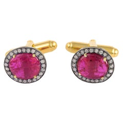 8.75 Carat Ruby Diamond Cufflinks