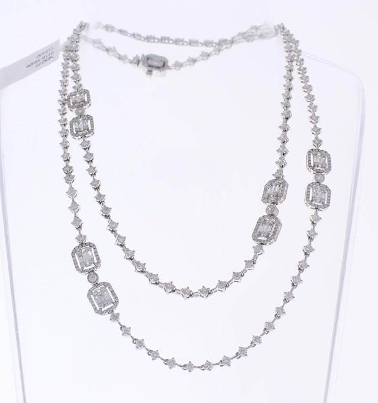 Baguette Cut 8.76 Carat Total Baguette and Round Diamond Necklace in 18 Karat White Gold For Sale